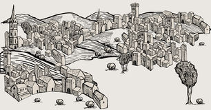 Hand drawn old city. Ungroupable vector houses vector illustration