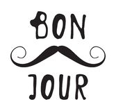 Hand drawn old fashion mustaches illustration. Actual hipster vector. Male barber shop print. Card with french text. Hand drawn old fashion mustaches Royalty Free Stock Photos