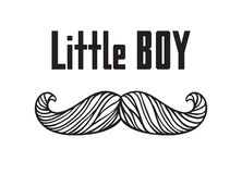 Hand drawn old fashion mustaches illustration. Actual hipster vector. Male barber shop print. Card with text Little boy. Hand drawn old fashion mustaches Stock Photos