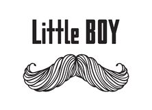 Hand drawn old fashion mustaches illustration. Actual hipster vector. Male barber shop print. Card with text Little boy. Hand drawn old fashion mustaches Stock Image