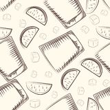 Hand drawn old fashioned glass, lime and ice cube seamless pattern stock illustration