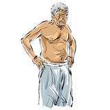 Hand drawn old man illustration on white background, grey-haired Stock Photos