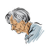 Hand drawn old man illustration on white background, grey-haired Royalty Free Stock Photos