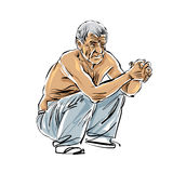 Hand drawn old man illustration on white background, grey-haired Stock Images