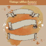 Hand drawn old ribbons set banners Stock Photography