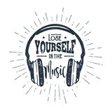 Hand drawn old school headphones vector illustration. Royalty Free Stock Images