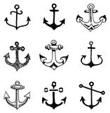 Hand drawn old school looking anchor set Royalty Free Stock Images