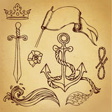 Hand drawn old school marine sketches Stock Image