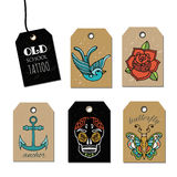 Hand drawn old School Tattoo Tags. Design Elements. Vector Vintage Set. Stock Photos