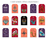 Hand drawn old School Tattoo Tags. Design Elements. Vector Vintage Set. Stock Images