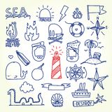 Hand drawn old school tattoo vector objects Royalty Free Stock Photos