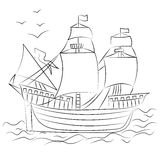 Hand Drawn Old Ship with Birds. Sketch Style. Royalty Free Stock Images