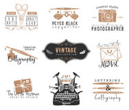 Hand drawn old stationery logo templates. Vintage style design. Elements. Ink decorative illustrations Royalty Free Stock Photography