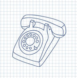 Hand drawn old telephone. Royalty Free Stock Image