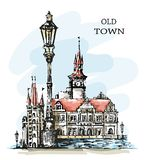 Hand drawn old town. Beautiful town view. Old architecture. Ð¡ute buildings, vintage lantern and bay. Sketch. Beautiful landscape. Hand drawn old town stock illustration