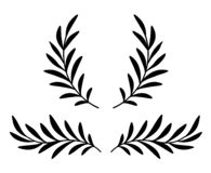 Hand drawn olive branches with leaves and wreath royalty free stock images