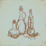 Hand Drawn Olive Oil In Glass Bottles