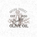 Hand drawn Olive oil label. Vector Illustration Royalty Free Stock Photos