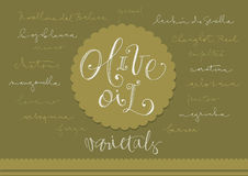 Hand drawn olive oil varieties Stock Photos