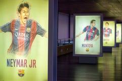 Hand-drawn Ondergeschikte affiche van Neymar bij het museum FC Barcelona Royalty-vrije Stock Foto