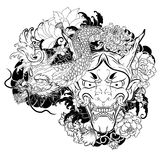 Japanese old dragon tattoo for arm.hand drawn Oni mask with cherry blossom and peony flower.Japanese demon mask on wave and sakura. Hand drawn Oni mask with stock illustration