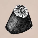 Hand drawn onigiri Japanese food. Illustration Royalty Free Stock Photo