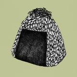 Hand drawn onigiri rice ball. Illustration Stock Photography
