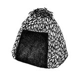 Hand drawn onigiri rice ball. With seaweed Royalty Free Stock Photography