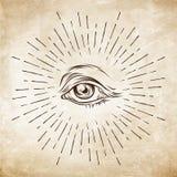 Hand-drawn Oog van de grungeschets van Voorzienigheid Vrijmetselaars- symbool Allen die Oog zien De nieuwe Orde van de Wereld Sam royalty-vrije illustratie