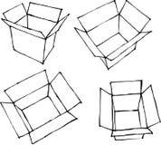 Hand drawn open white boxes on white Stock Photography