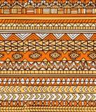 Hand drawn orange abstract aztec maya geometric seamless pattern Stock Photo
