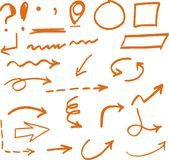 Hand drawn orange arrows circles and abstract doodle. Stock Photography