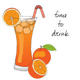 Hand drawn orange cocktail with ice, straw and oranges. Hand drawn orange cocktail with ice, straw and oranges on white background. Vector illustration royalty free illustration