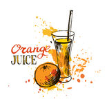 Hand drawn orange juice in glass Royalty Free Stock Photo