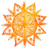 Hand drawn orange watercolor tribal sun. Vector