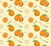 Hand drawn oranges seamless pattern. Vector illustration stock illustration