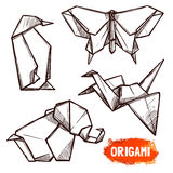 Hand Drawn Origami Figures Set Stock Image