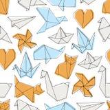 Hand drawn origami seamless pattern Stock Photos
