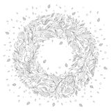 Hand Drawn Ornament with Floral Wreath Royalty Free Stock Photo