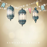 Hand drawn ornamental Arabic lanterns with string of lights and party flags. Greeting card, invitation for Muslim. Community holy month Ramadan Kareem, vector Stock Photography