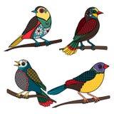 Hand drawn ornamental birds Stock Photos
