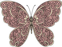 Hand drawn ornamental butterfly outline illustration with decorative ornaments Stock Photography