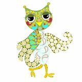 Hand drawn ornamental colorful owl for coloring page and print Royalty Free Stock Image