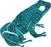 Drawn ornamental doodle frog illustration with zentangle ornaments vector illustration