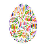 Hand drawn ornamental easter egg with colorful wave pattern.  Royalty Free Stock Photo