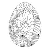 Hand drawn ornamental easter egg with doodle pattern for colorin. G book for adult and design elements. Cute Doodle style Easter Egg. Vector egg. Black and White Royalty Free Stock Photos