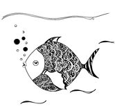 Hand drawn ornamental fish. Black white drawn. You may use it for coloring pages for adults. Hand drawn ornamental fish.  You may use it for coloring pages for Stock Image