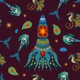 Hand drawn Ornamental Mermaid, sea-horse and calamar. Royalty Free Stock Photos