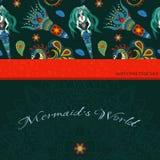 Hand drawn Ornamental Mermaid, sea-horse and calmar.  Fairy-tale Royalty Free Stock Images