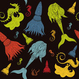 Hand drawn Ornamental Mermaid, sea-horse and calmar.  Fairy-tale Royalty Free Stock Image
